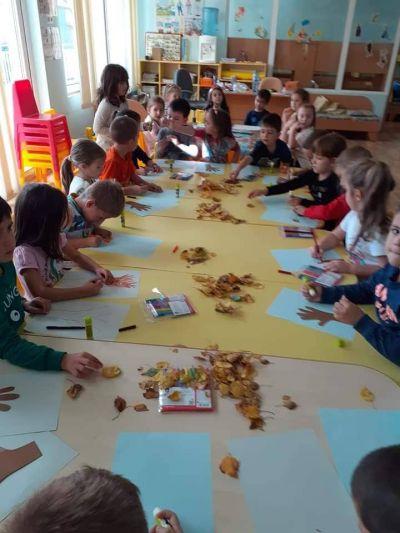 Есенна украса изработена от децата на трета група в ДГ № 121 - ДГ №121 - София, район Нови Искър